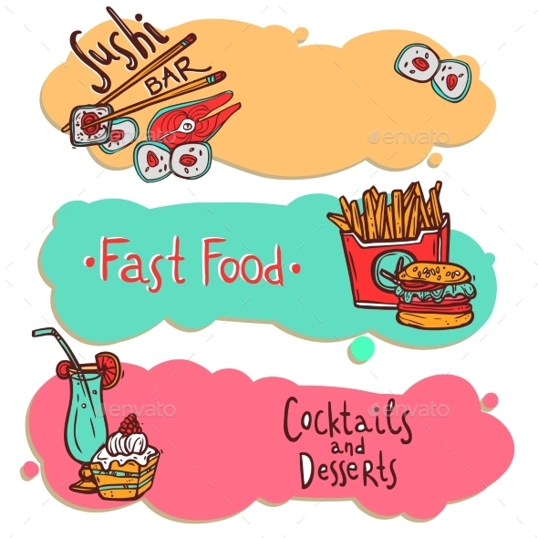 GraphicRiver Fast Food Restaurant Banners Set 10597782