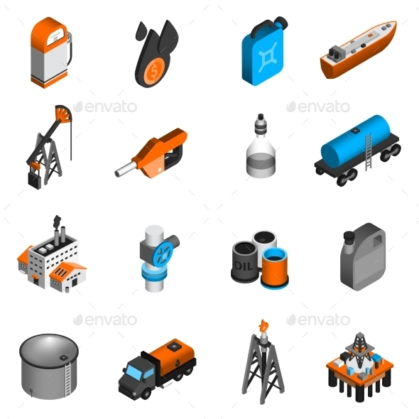 GraphicRiver Oil Industry Isometric Icons 10597800