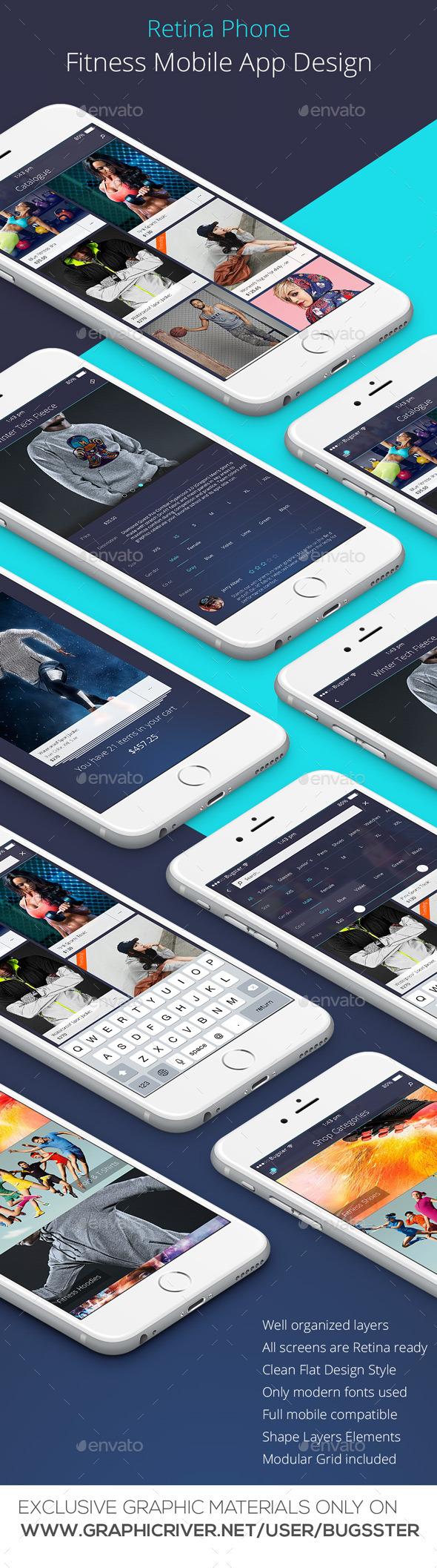 GraphicRiver Mobile Fitness App Design for Retina Phone 10597855