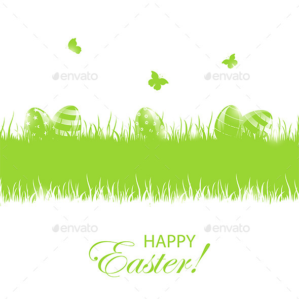 GraphicRiver Green Easter Background with Eggs 10598332