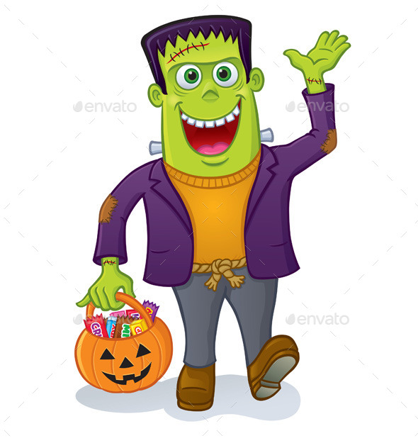 GraphicRiver Frankenstein Monster Carrying Pumpkin Pail 10598542