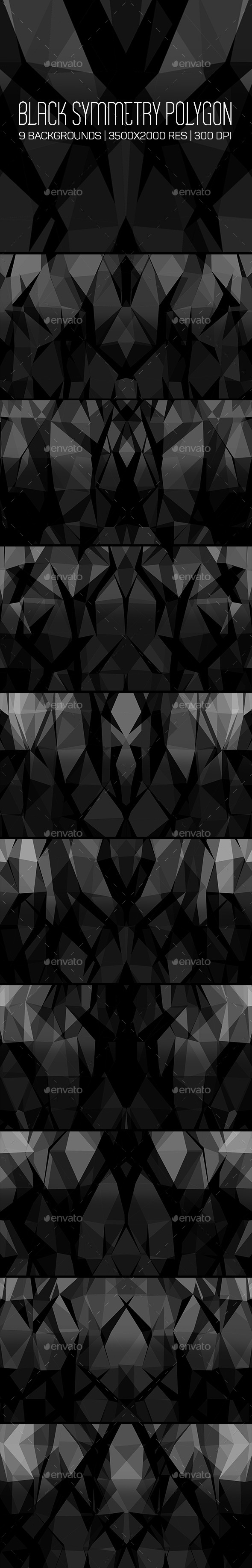 GraphicRiver Black Symmetry Polygon Backgrounds 10598731
