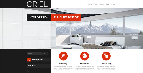 ThemeForest ORIEL Responsive Interior Design HTML5 Template 10598776