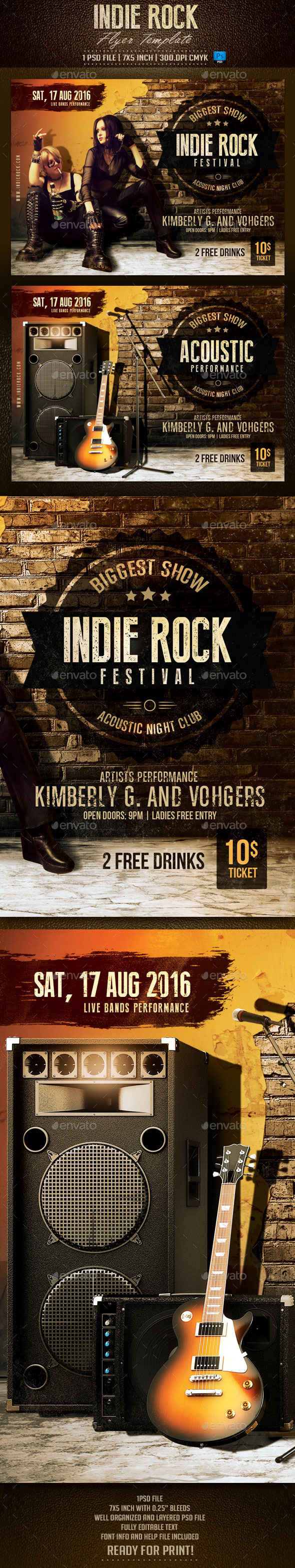 GraphicRiver Indie Rock Flyer Template 10598876