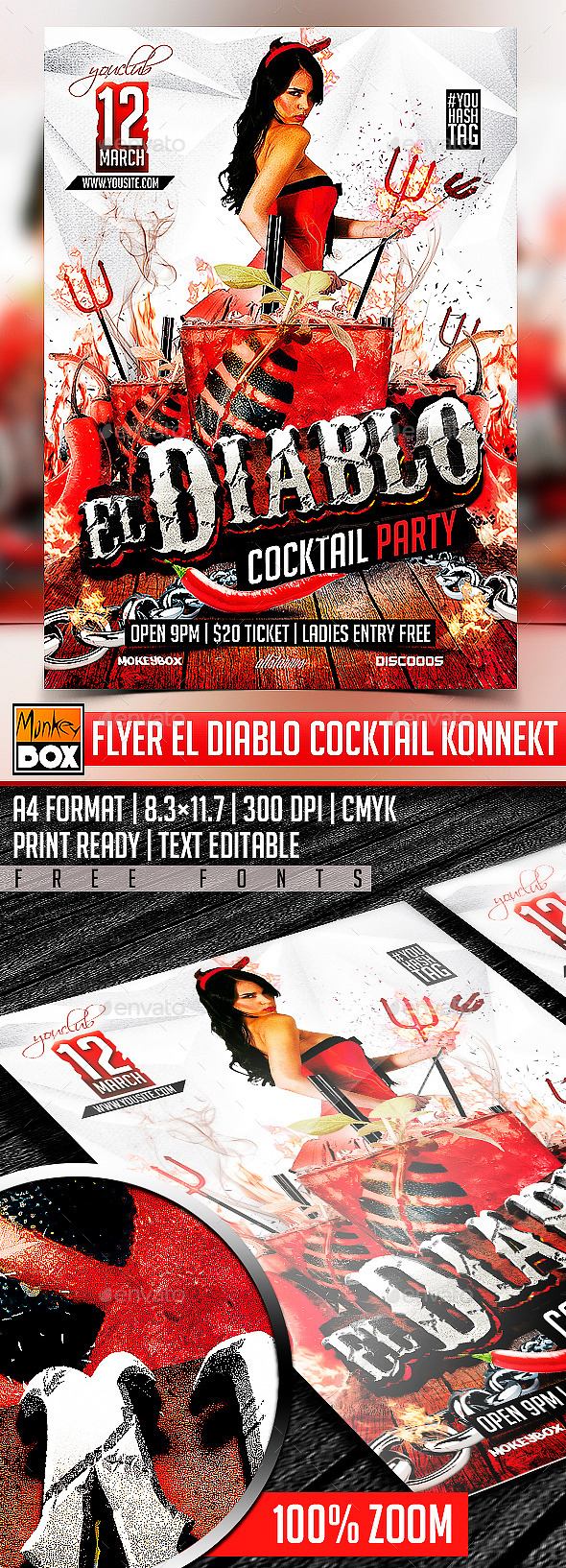 GraphicRiver Flyer El Diablo Cocktail Konnekt 10598879