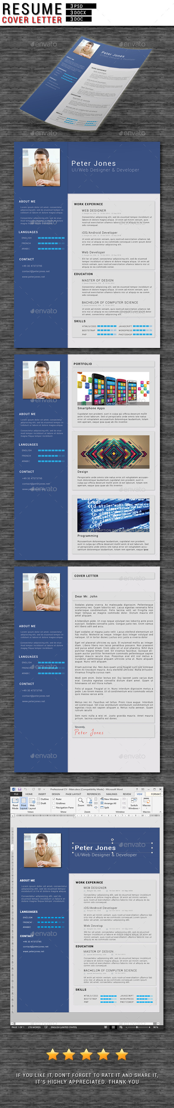 GraphicRiver 3 Piece Resume CV Cover Letter 10599200