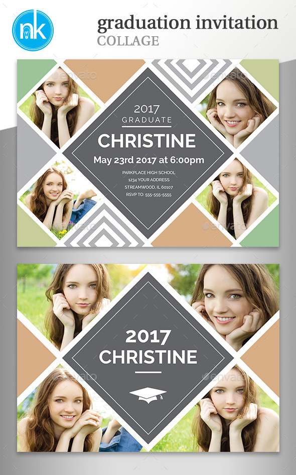senior photo collage templates - free collage graduation invitation templates for photoshop
