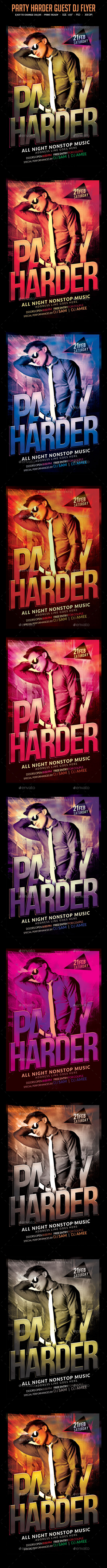 GraphicRiver Party Harder Guest Dj Flyer 10599692