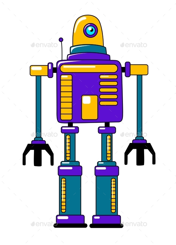GraphicRiver Colorful Toy Robot in Vintage Style 10599701