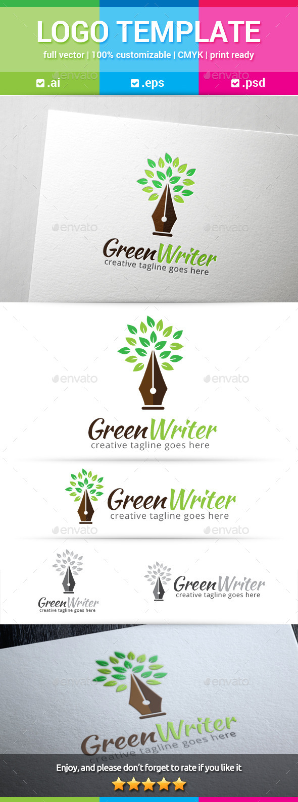 GraphicRiver Green Writer Logo 10599744