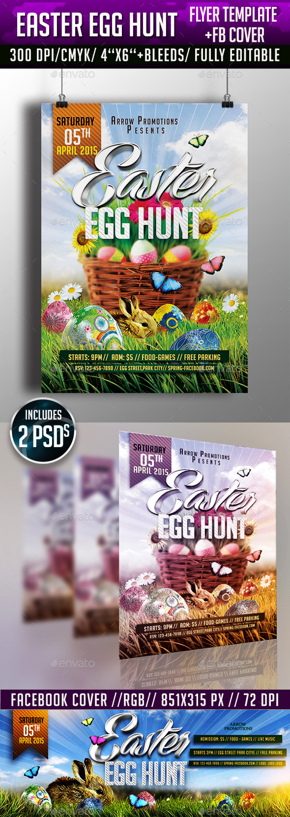 GraphicRiver Easter Egg Hunt Flyer & FB Cover 10599805