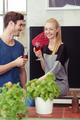 Happy Sweethearts Having Glasses of Wine at Home - PhotoDune Item for Sale