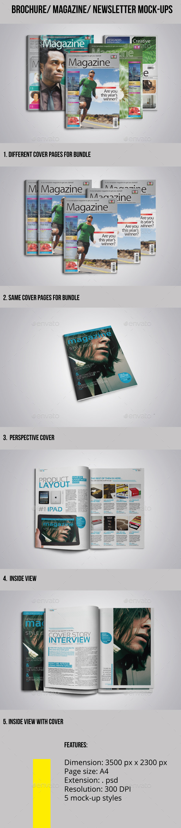 GraphicRiver Brochure-Magazine-Newsletter Mock-ups 10600000