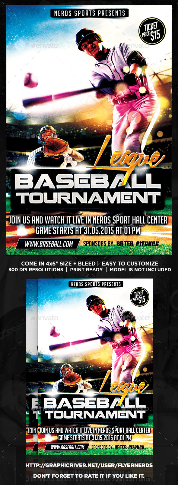 GraphicRiver Major League Baseball Tournament Sports Flyer 10600453