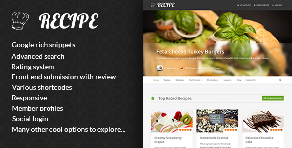 Download Recipe - WP Theme For Recipes nulled download