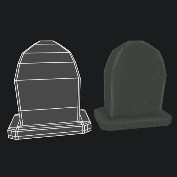 LowPoly handpainted Gravestone  - 3DOcean Item for Sale