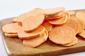 Chopped sweet potatoes on wooden board - PhotoDune Item for Sale