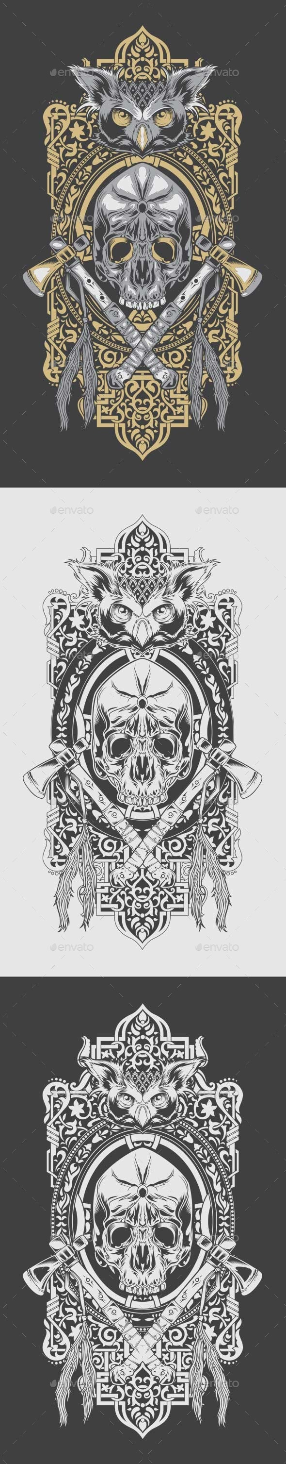 GraphicRiver Decorative Owl and Skull 10600928