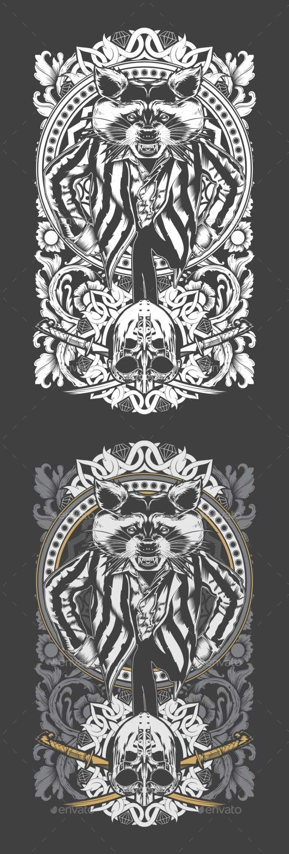 GraphicRiver Decorative Raccoon 10600946