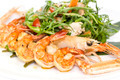 shrimp salad greens vegetables and crayfish in the restaurant - PhotoDune Item for Sale