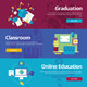 Flat School and Education Concept Banners - GraphicRiver Item for Sale
