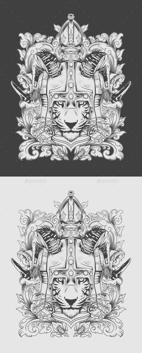 GraphicRiver Tiger Viking Illustration 10601100
