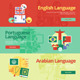 Flat Languages Lessons Banners - GraphicRiver Item for Sale
