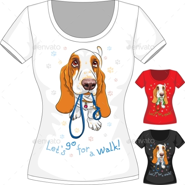GraphicRiver T-Shirt with Basset Hound 10601851