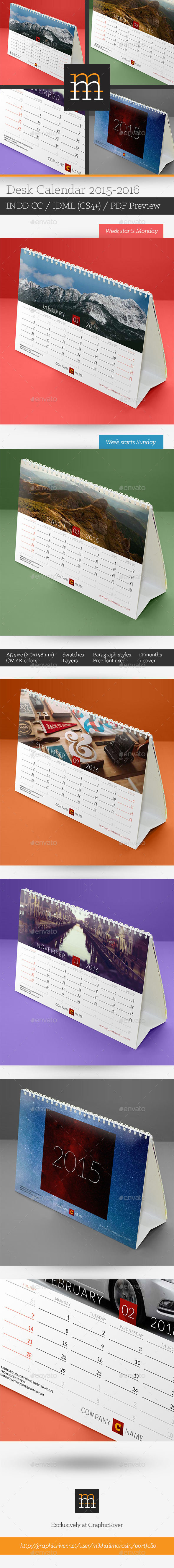 GraphicRiver Desk Calendar 2015-2016 10601940