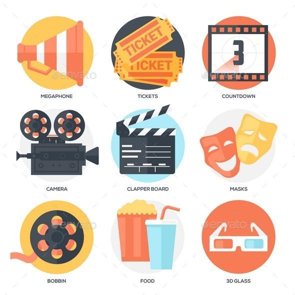 GraphicRiver Cinema Icons Set 10602638