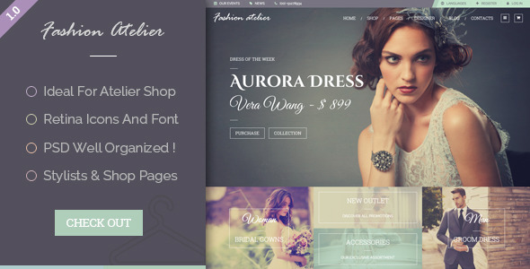 ThemeForest Fashion Atelier Wedding Bridal and Groom Shop Template 10602829