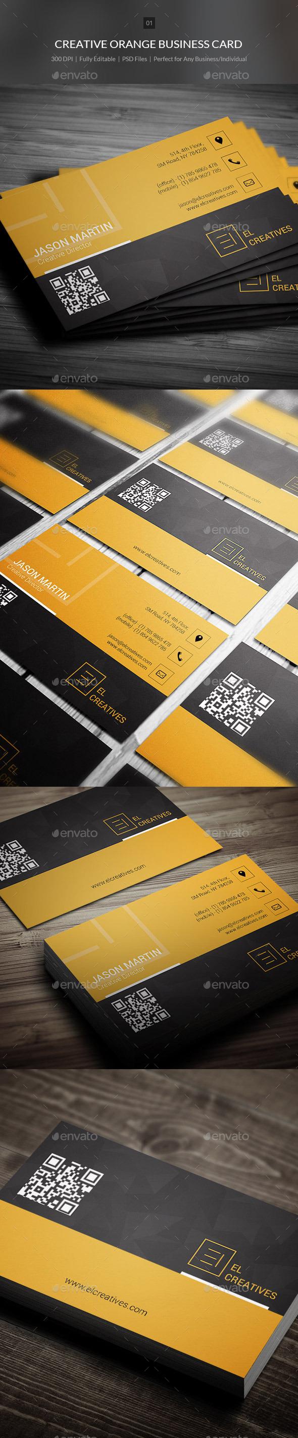 GraphicRiver Creative Orange Business Card 01 10603046