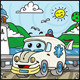 Cartoon Ambulance Character with Lake Background - GraphicRiver Item for Sale