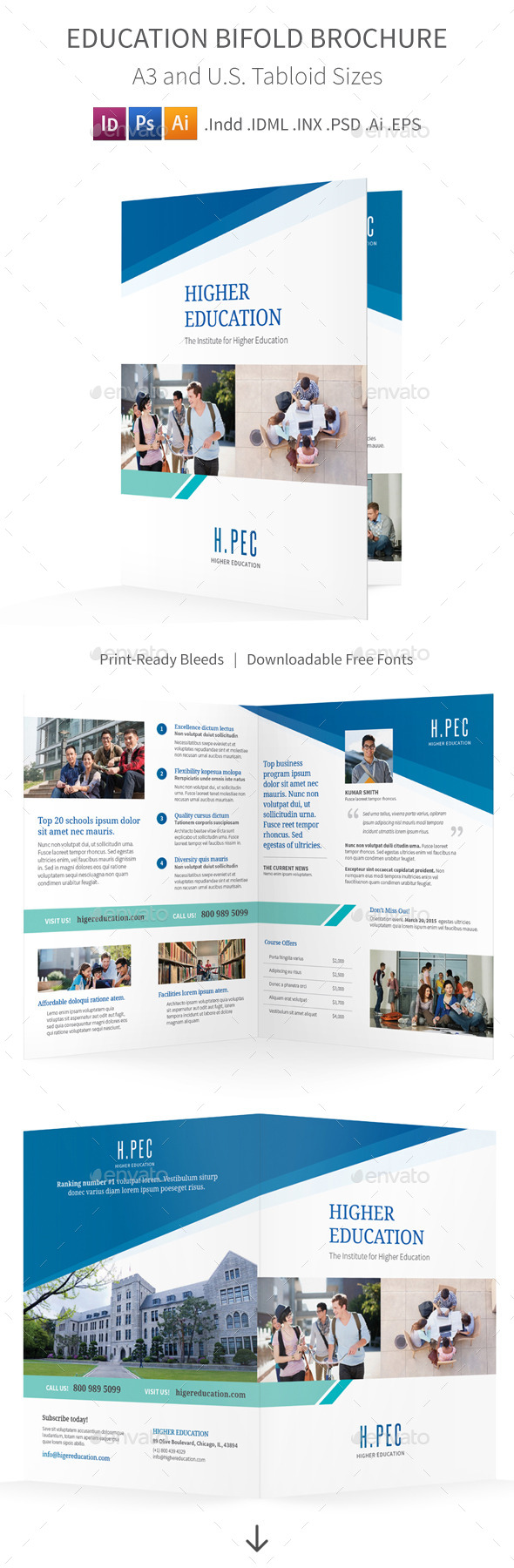 GraphicRiver Education Bifold Halffold Brochure 10604039