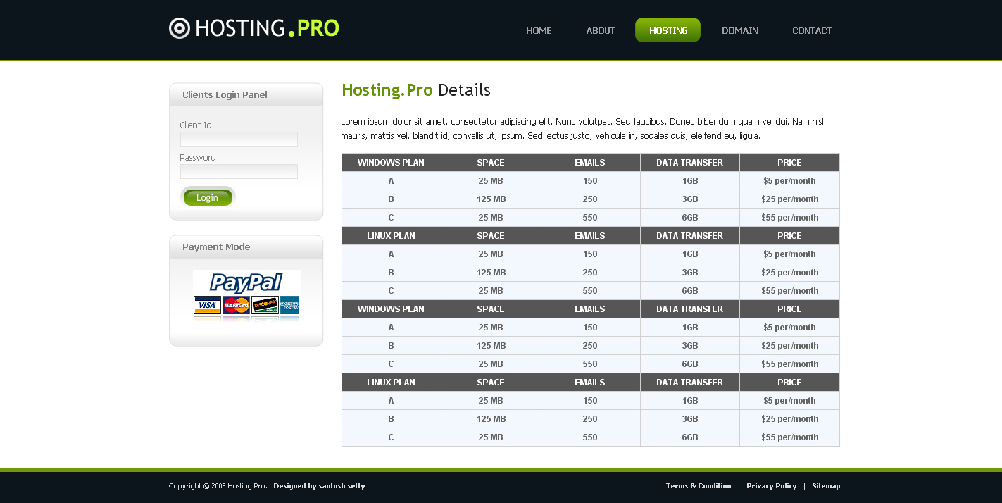 Hosting Provider  - Services Page of Hosting Pro