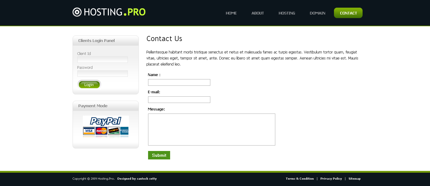 Hosting Provider  - Contact Page of Hosting Pro