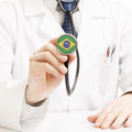 Doctor holding stethoscope with flag series - Brazil - PhotoDune Item for Sale