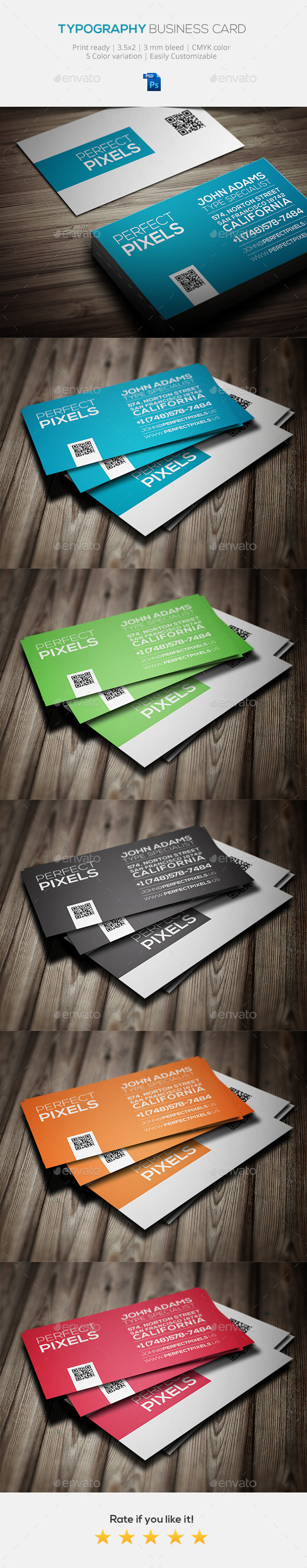 GraphicRiver Typography Business Card Template 10605610