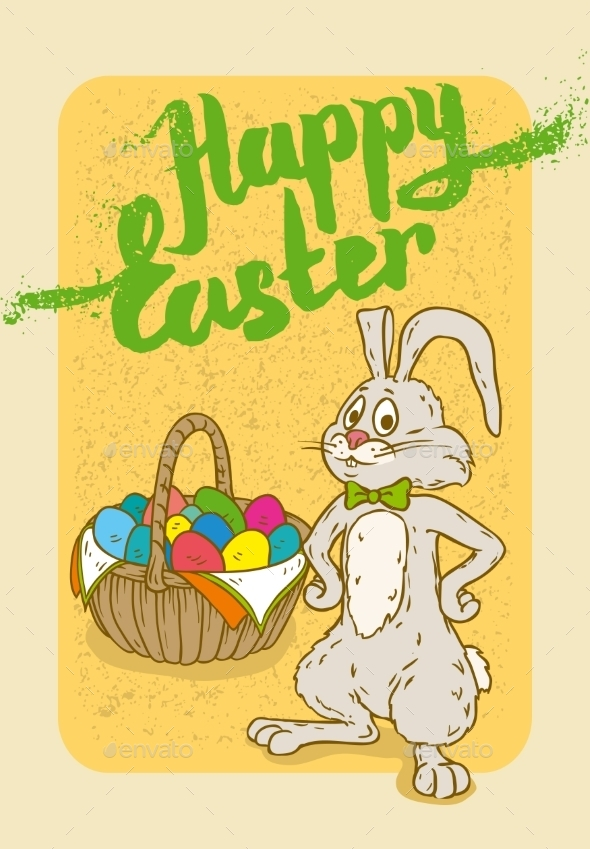 GraphicRiver Happy Easter Postcard 10606174
