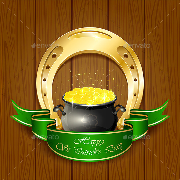 GraphicRiver Horseshoe and Pot with Golden Coins 10606735
