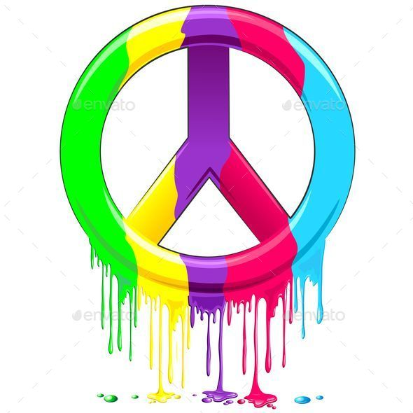 GraphicRiver Peace Symbol Dripping Rainbow Paint 10606917