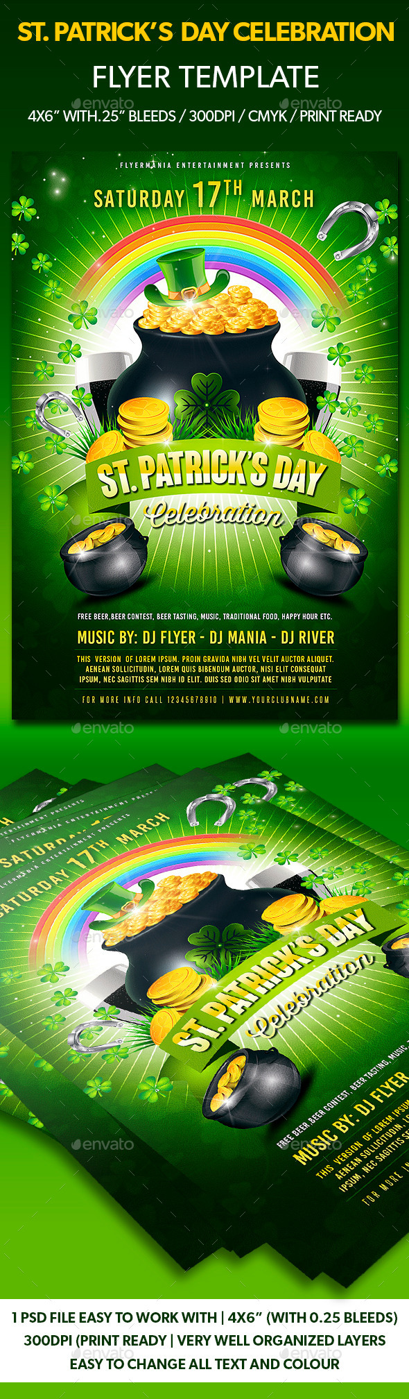 GraphicRiver St Patrick s Day Celebration Flyer Template 10607110