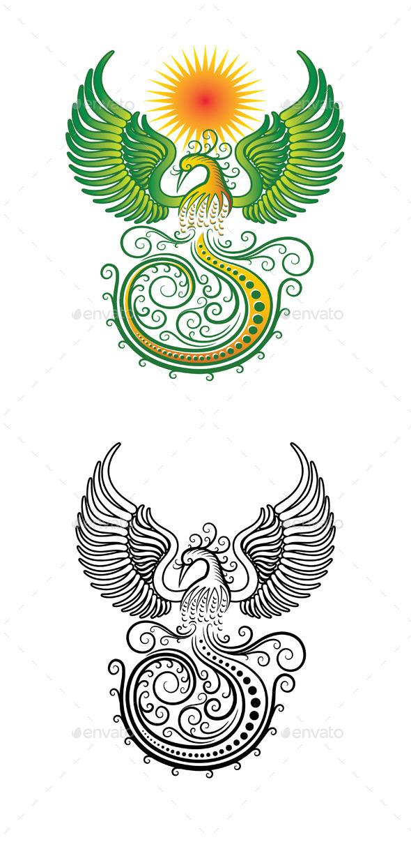 GraphicRiver Phoenix Tribal Vector 10607256