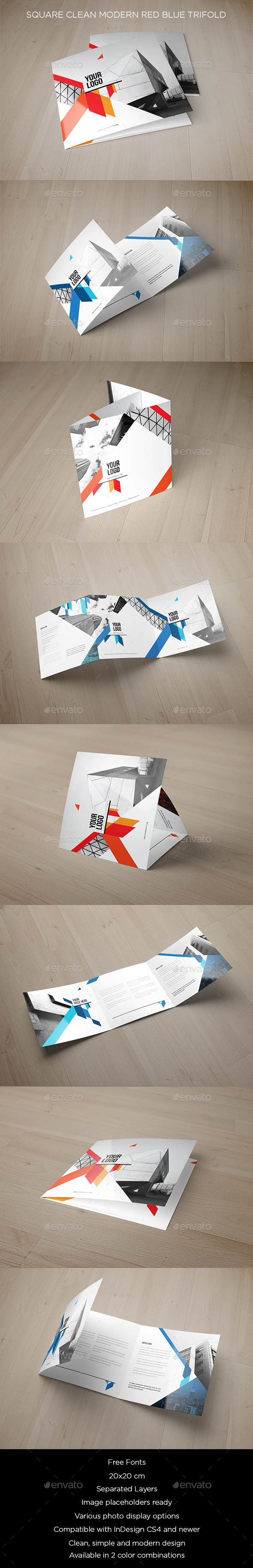 GraphicRiver Square Clean Modern Red Blue Brochure 10607565
