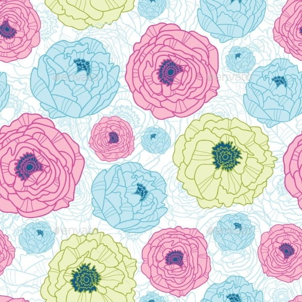 GraphicRiver Flowers Seamless Pattern Background 10607590