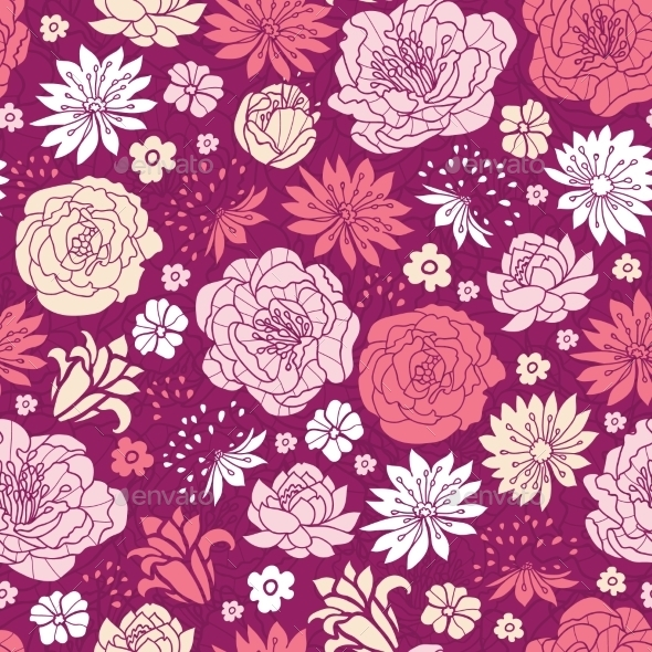 GraphicRiver Purple Pink Flower Seamless Pattern 10607609