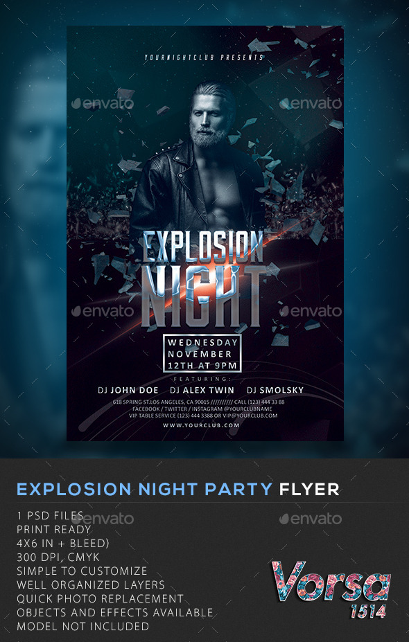 GraphicRiver Explosion Night Party Flyer 10607686