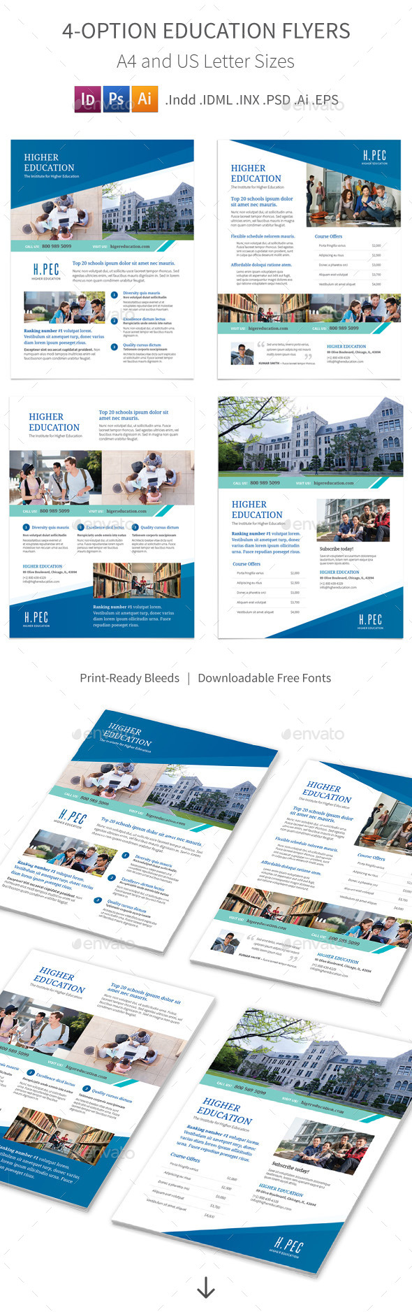 GraphicRiver Education Flyers 4 Options 10608165