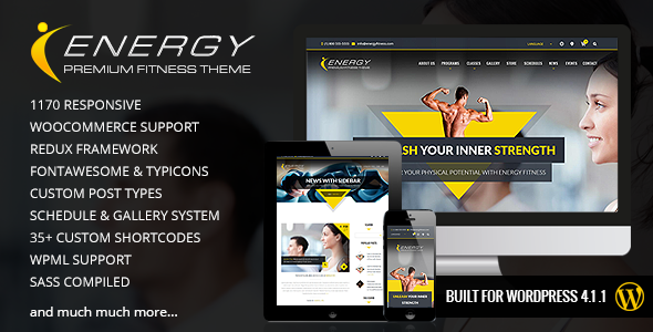 ThemeForest ENERGY Responsive WordPress Fitness Theme 10608322