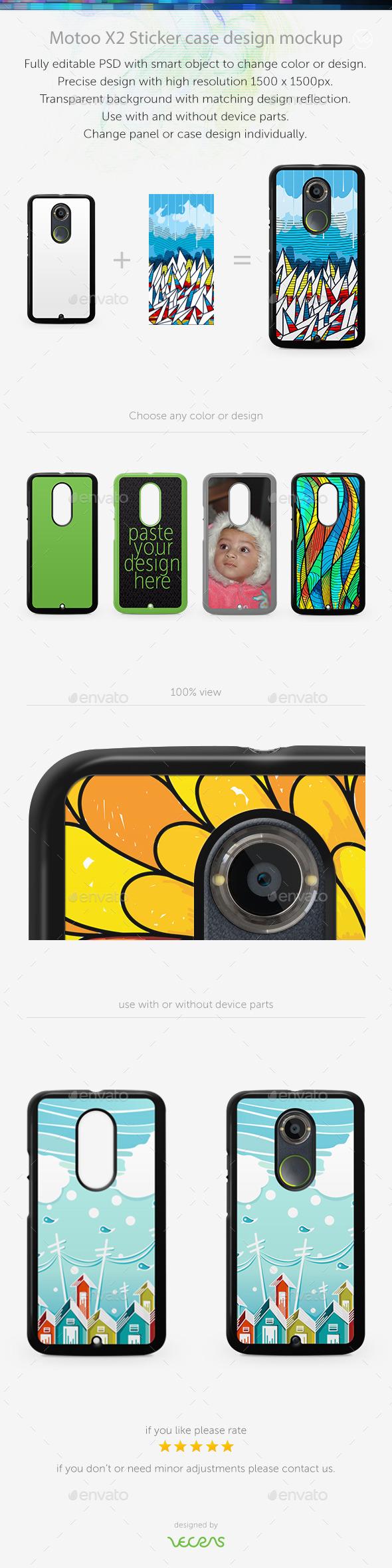 GraphicRiver Motoo X2 Sticker Case Design Mockup 10564723